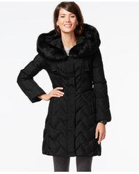 Tahari | Black Faux-fur-trim Hooded Down Coat | Lyst
