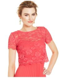 Xscape - Red Short-Sleeve Lace Popover Pleat Gown - Lyst