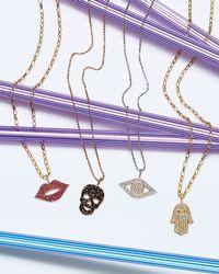 Sydney Evan | Metallic Pave Diamond Evil Eye Charm Necklace | Lyst