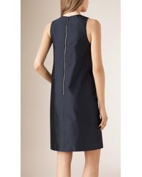 Burberry - Blue Silk Blend Shift Dress - Lyst