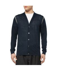 PS by Paul Smith | Blue Contrast-Trim Linen Cardigan for Men | Lyst