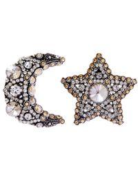 Lanvin - Metallic Silver-tone Crystal Elsie Moon Star Clip-on Earrings - Lyst