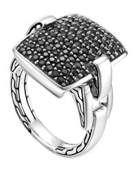 John Hardy | Classic Chain Silver Lava Black Sapphire Ring for Men | Lyst