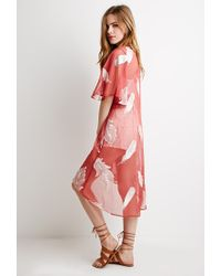 Forever 21 | Feather Embroidered Chiffon Kimono | Lyst
