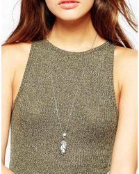 Pieces | Metallic Lala Feather Necklace | Lyst