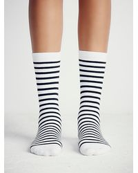 Free People - Black Richer Poorer Womens Nora Striped Crew Sock - Lyst