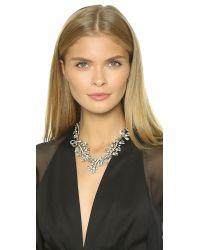 Oscar de la Renta | Metallic Floral Baguette Necklace - Crystal/silver | Lyst