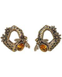 Alexander McQueen | Orange Hexagon Bee Skull Earrings | Lyst