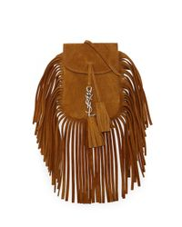 Saint Laurent | Brown Anita Mini Flat Shoulder Bag W/fringe | Lyst