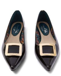French Sole - Black Patent Leather Buckle Penelope Flats - Lyst