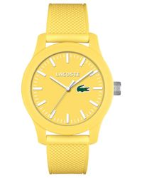 Lacoste - Men's .12.12 Yellow Silicone Strap Watch 43mm 2010774 for Men - Lyst