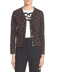 Marc By Marc Jacobs | Purple Leopard Jacquard Cardigan | Lyst
