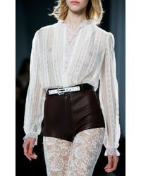 Rodarte | Off-White Lace Blouse With Ruffle Trim | Lyst