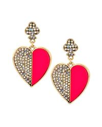 Betsey Johnson | Pink Casino Royale Pave Heart Drop Earrings | Lyst