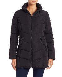 Calvin Klein | Black Quilted Zip-front Coat | Lyst