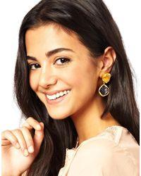 Kasturjewels - Purple 22kt Gold Plated Brass Rough Cut Semiprecious Stone Drop Earrings - Lyst