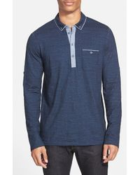BOSS Orange | Blue 'patcherman' Long Sleeve Jersey Polo for Men | Lyst