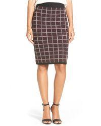 Halogen - Purple Windowpane Check Knit Pencil Skirt - Lyst
