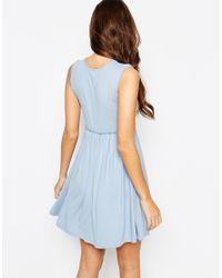 ASOS | Blue Petite Sleeveless Babydoll Dress | Lyst