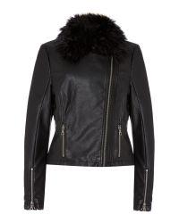 Linea Weekend - Black Pu Portbrush Faux Fur Collar Biker Jacket - Lyst