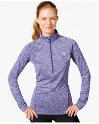 Under Armour - Purple Ua Tech™ Heathered Half-zip Top - Lyst