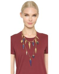 Tory Burch - Blue Arrowhead Double Strand Necklace - Natural/gold Ox Matte - Lyst