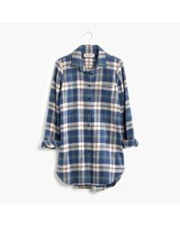 Madewell - Blue Rivet & Thread Flannel Slim Tunic Shirt In Hailey Plaid - Lyst
