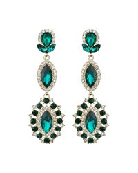 Mikey | Green Triple Eclipse Stone Long Drop Earring | Lyst
