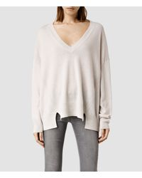 AllSaints | White Atlas V-neck Sweater | Lyst