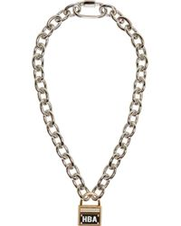 Hood By Air - Metallic Silver Embellished Padlock Necklace - Lyst