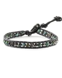 Chan Luu | Gray Compressed Turquoise Mix Single Wrap Bracelet On Gunmetal Leather | Lyst
