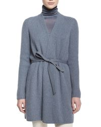 Loro Piana - Gray Draped-front Belted Cardigan - Lyst