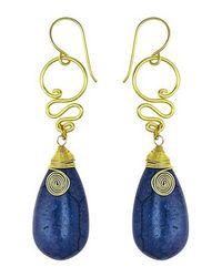 Aeravida - Cute Navy Blue Howlite Teardrop Brass Swirl Earrings - Lyst
