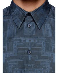 Givenchy - Blue Robot Component Print Poplin Shirt for Men - Lyst