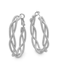 Saks Fifth Avenue | Metallic Twisted Triple-strand Silvertone Hoop Earrings/1.5"