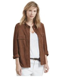 Violeta by Mango | Brown Plus Size Suede Shirt | Lyst