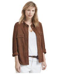 Violeta by Mango - Brown Plus Size Suede Shirt - Lyst