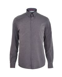 River Island - Gray Grey Light And Dark Long Sleeve Shirt for Men - Lyst