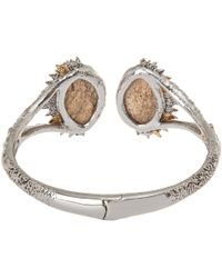 Alexis Bittar - Metallic Silver Crystal Studded Jasper Doublet Hinged Bracelet - Lyst