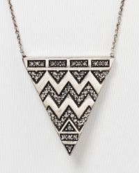 "House of Harlow 1960 - Metallic 1960 Pavé Tribal Triangle Pendant Necklace, 28"" - Lyst"