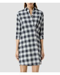 AllSaints | Black Heny Check Dress | Lyst