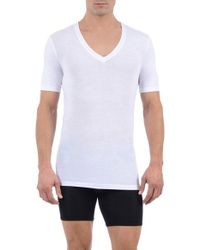 Tommy John | White 'cool Cotton' Deep V-neck Undershirt for Men | Lyst