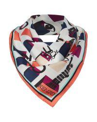 KENZO | Multicolor Mini Logo Silk Square Scarf | Lyst