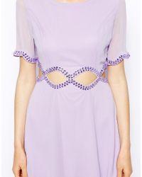 AX Paris | Purple Dress With Diamond Waist Cut-out | Lyst