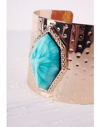 Missguided | Blue Semi-precious Stone Detail Cuff Gold | Lyst