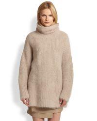 Helmut Lang - Natural Veneered Angora Turtleneck Sweater - Lyst