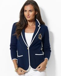 Ralph Lauren | Blue Petite Cotton Blazer with Crest | Lyst