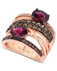 Le Vian - Metallic Rhodolite Garnet(1-9/10 Ct. Smokey Quartz (9/10 Ct T.w.) And Diamond Accent Gladiator Ring In 14k Rose Gold - Lyst