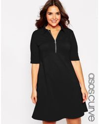 Asos Curve | Black Polo Skater Dress With Collar & Zip | Lyst