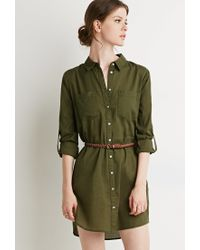 Forever 21 - Green Belted Shirt Dress - Lyst